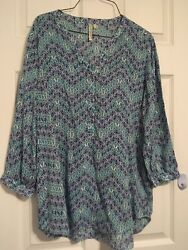 Grand And Greene Womanandrsquos Casual Long Sleeve Blouse Size M Diamond Print Colorful