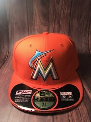 Miami Marlins Mlb Official On Field New Era Fitted/ Sz 7 1/2