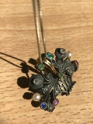 Antique Victorian Gold Pendant 18k 14k Silver Natural Stones With Silver Chain