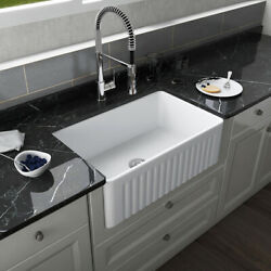 30and039and039 Farmhouse Kitchen Sink White Single Bowl Kitchen Sink Apron Kitchen Sink