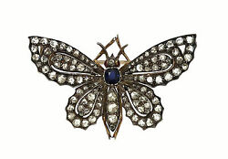 ANTIQUE YELLOW GOLD STERLING SILVER & ROSE CUT DIAMONDS BUTTERFLY PIN BROOCH