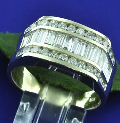 2.60 Ct 14k Solid Yellow Gold Mens Natural Diamond Ring Baguette Made In Usa