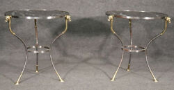 Gorgeous Pair Black And White Marble Steel Brass Rams Head Geuridons End Tables