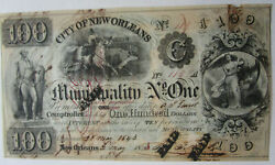 1843 City Of New Orleans Municipality No. One Bond Aj Guirot Signed Scriptophily