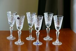Classic Style 24 Lead Crystal Shot Glasses, Set Of 6, Russia