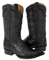 Mens Cowboy Boots Black Genuine Crocodile Belly Exotic Skin Leather 3x Pointed