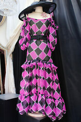 1983 Yves Saint Laurent Pink And Black Taffeta Long Dress With Puffy Sleeves