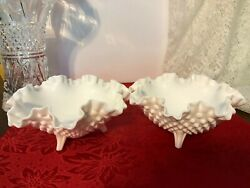 Pair Of Fenton Milk Glass Hobnail Three-footed Candy Dishes Ruffled Rim, Vintage