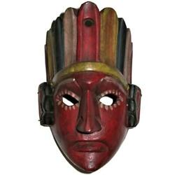 Hand Carved Wooden Tribal Mask Guatemala, With Hangers, 9 1/2