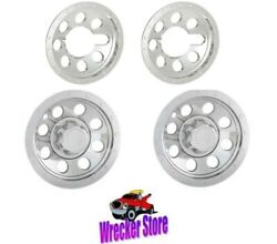 Set Of Two 12 And Two 6 Abs Chrome Plated Wheel Covers, Mower Golf Cart, Etc.