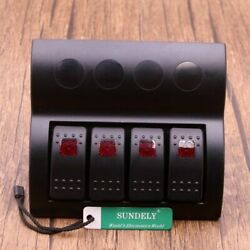 4 Gang Red Led Marine Boat Rocker Switch Panel With Circuit Breakers 12v 24v Usa