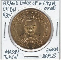 Masonic Penny - Grand Lodge Of Af And Am Of Maryland - Ch Bu - 24 Mm Brass