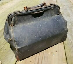 Black Leather Doctor Bag Antique Vintage 16 Marked 1811 Whit Or White Co 16