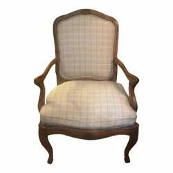 Antique High Back French Calver Chair With Fabric Fruitwood