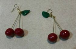 New Handcrafted Cherry Earrings Cute Fruit Shape Drop Style Fired Clay Jewelry