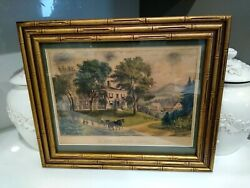 Currier And Ives A New England Home Rare Original Hand Colored Lithograph