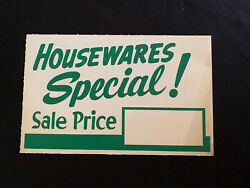 Vtg 50s Western Auto In Store Ad Cardboard Sign Housewares Special Sale Price