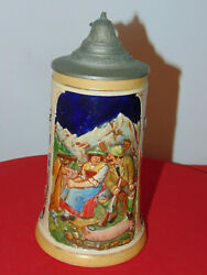 Antique 8 German Made Beer Stein Tankard Mug With Pewter Lid New No Box
