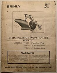 Brinly Hardy Pp-508 Pp-510 Pp-512 Garden Plow Operation Parts Owner's Manual Oem