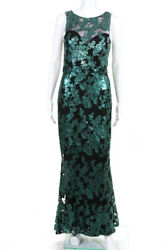 Badgley Mischka Womens Ivy Floral Sequin Mesh Gown Green Black Size 6 10919729
