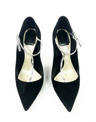 Christian Dior Coquette Pump 10mm Black Suede W/ Silver Leather Bow Size 38