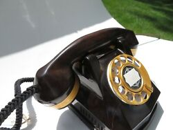 Automatic Electric Mahogany Ae40 Monophone 24kt Gold Abntique Telephone