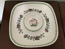 """Portmeirion Botanic Garden Appetizer Serving Dish Tray 14.5"""" Flowers Chip And Dip"""