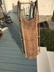 Excellent Large Antique Childs Snow Winter Wooden Sled Beautiful Patina Sledding