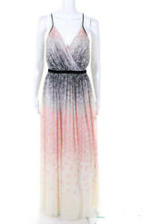Badgley Mischka Womens Twirling Butterfly Maxi Dress Multi Color Size 4 10328155