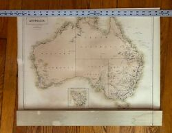 Australia Antique Map By Aandc Black Gold Districts With Inset Of Tasmania C1860
