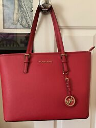 Brand New!  Michael Kors JetSet Travel Bright Red Leather Tote Bag!!