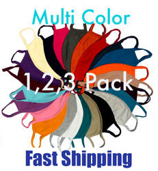 Color Face Mask Reusable Washable Cover Triple Layer 1 2 3 Pack Men Women USA $14.49
