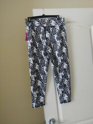 Evolution and Creation EVCR Active Women Leggings Pineapple BlackWhite SZ XL