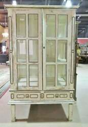 Shabby Chippy White Painted Antique 1840s Era Continental China Cabinet