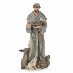 Saint Francis Figurine Garden Accent Statue For Outdoor Landscaping