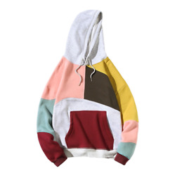 Mens T-shirts Hooded Color Block Sweater Pullover Coat Korean Casual Jacket