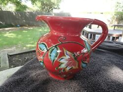Gail Pittman Southern Living At Home Red Bountiful Blue Green Flowers Pitcher