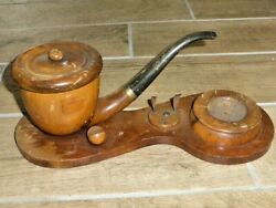 Unusual Vintage Pipe Shape Humidor, Ashtray And Pipe Stand, C1950