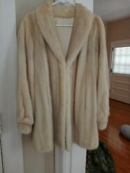 Vintage Genuine custom blonde MINK Fur Coat Stroller Length Women's