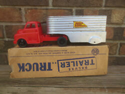 Vintage Marx Lumar Lines Deluxe Open Van Trailer And Truck With Box Usa