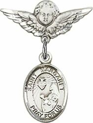 Sterling Silver Baby Badge Cherub Angel Pin With Saint Margaret Mary Alacoque Ch