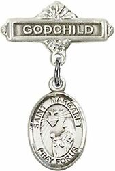 Sterling Silver Baby Badge Godchild Bar Pin With Saint Margaret Mary Alacoque Ch