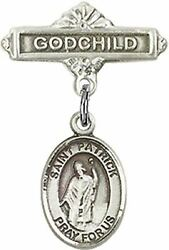 Sterling Silver Baby Badge Godchild Bar Pin With Saint Patrick Charm, 11/16 Inch