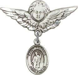 Sterling Silver Baby Badge Guardian Angel Pin With Saint Patrick Charm, 1 1/4 In