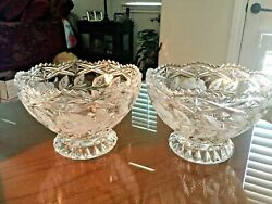 Vintage Imperlux Large Crystal Rose Collection Cut/etched Footed Bowls