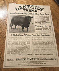 1918 Cattle Livestock Public Sale Poster - Wall Lake - Iowa - Cow Advertising