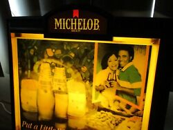 Rare Vintage Michelob Beer Black Americana Advertising Lighted Bar Sign 19x 17