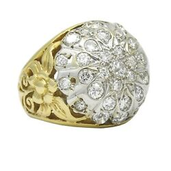 Vintage Cluster Bombe Ring In 14k Yellow White Gold 2.00 Ct Tw