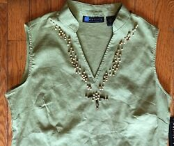 Relativity Sage Green Sleeveless Beaded V Neck S Cotton Pullover Top 43 Nwt 609
