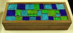 Vintage Georges Briard Signed Stained Glass Mosaic Tile 10 X 4 Cigar Wood Box